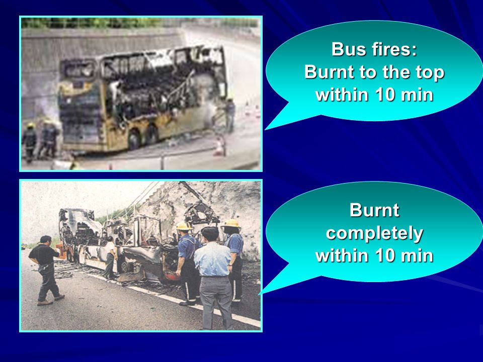 Bus fires: Burnt to the top within 10 min Burnt completely within 10 min