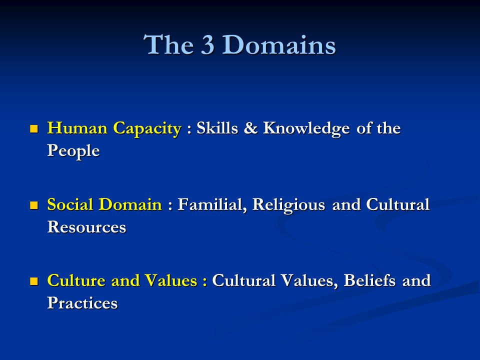 The 3 Domains Human Capacity : Skills & Knowledge of the People Human Capacity : Skills & Knowledge of the People Social Domain : Familial, Religious and Cultural Resources Social Domain : Familial, Religious and Cultural Resources Culture and Values : Cultural Values, Beliefs and Practices Culture and Values : Cultural Values, Beliefs and Practices