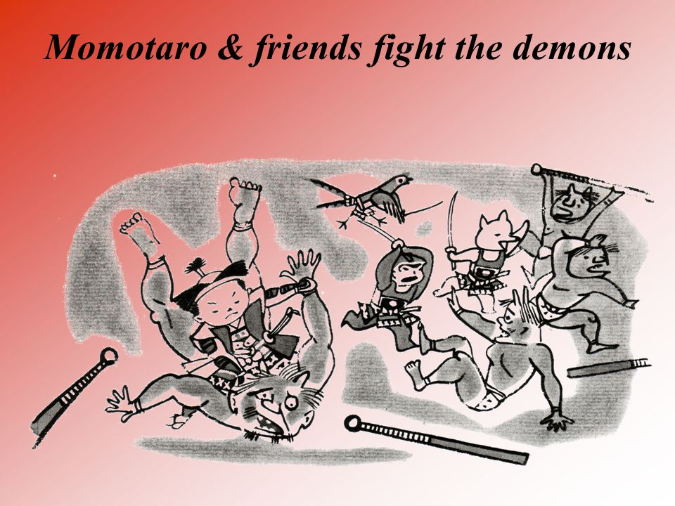 Momotaro & friends fight the demons