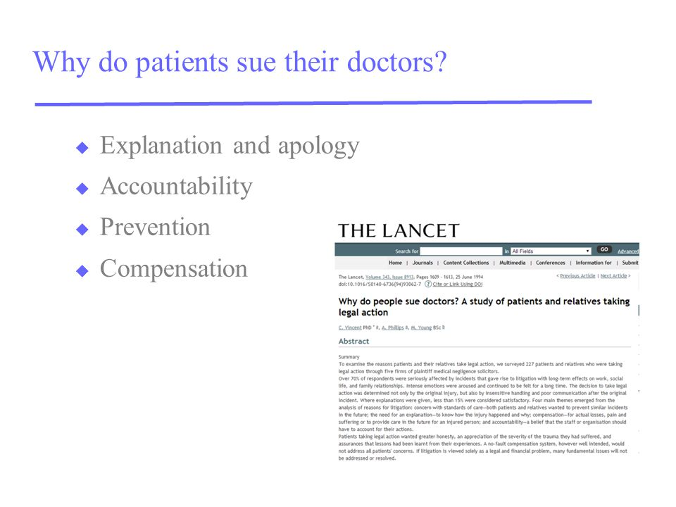 Why do patients sue their doctors.