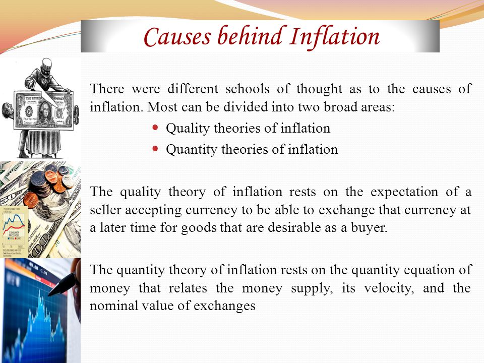 Causes behind Inflation There were different schools of thought as to the causes of inflation.