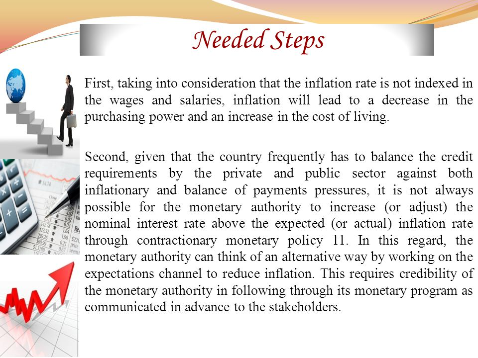 First, taking into consideration that the inflation rate is not indexed in the wages and salaries, inflation will lead to a decrease in the purchasing power and an increase in the cost of living.