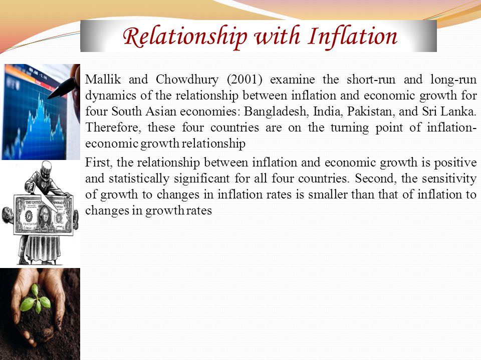 Mallik and Chowdhury (2001) examine the short-run and long-run dynamics of the relationship between inflation and economic growth for four South Asian economies: Bangladesh, India, Pakistan, and Sri Lanka.