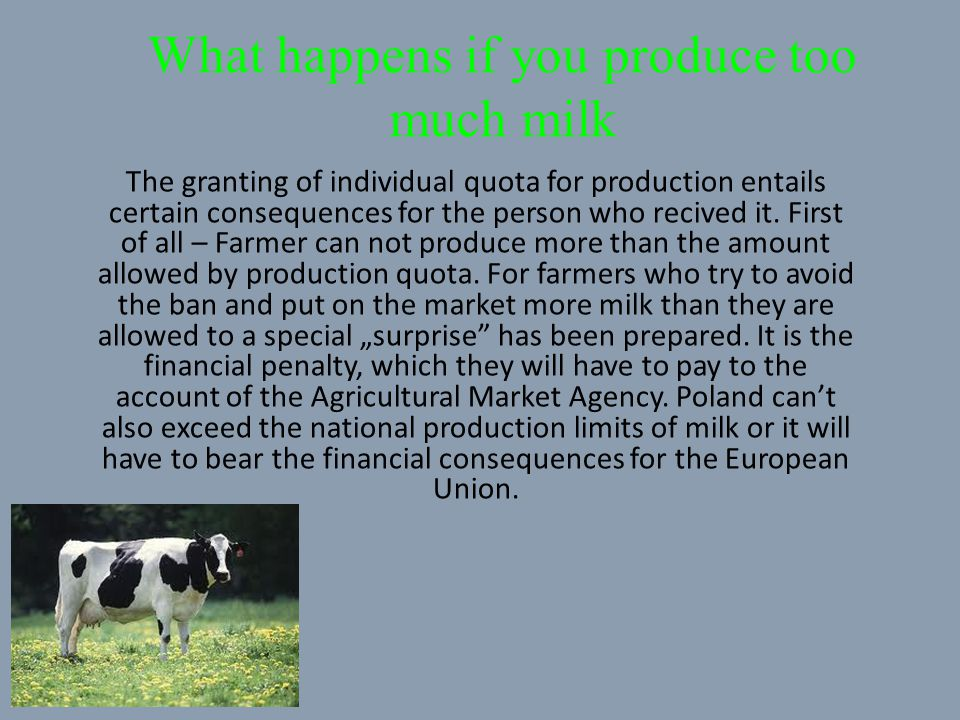 What happens if you produce too much milk The granting of individual quota for production entails certain consequences for the person who recived it.
