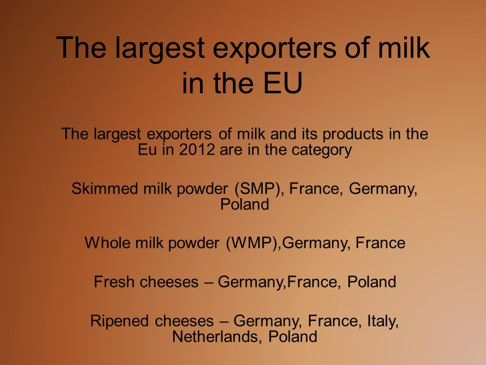 The largest exporters of milk in the EU The largest exporters of milk and its products in the Eu in 2012 are in the category Skimmed milk powder (SMP), France, Germany, Poland Whole milk powder (WMP),Germany, France Fresh cheeses – Germany,France, Poland Ripened cheeses – Germany, France, Italy, Netherlands, Poland