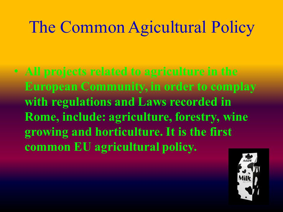 The Common Agicultural Policy All projects related to agriculture in the European Community, in order to complay with regulations and Laws recorded in Rome, include: agriculture, forestry, wine growing and horticulture.