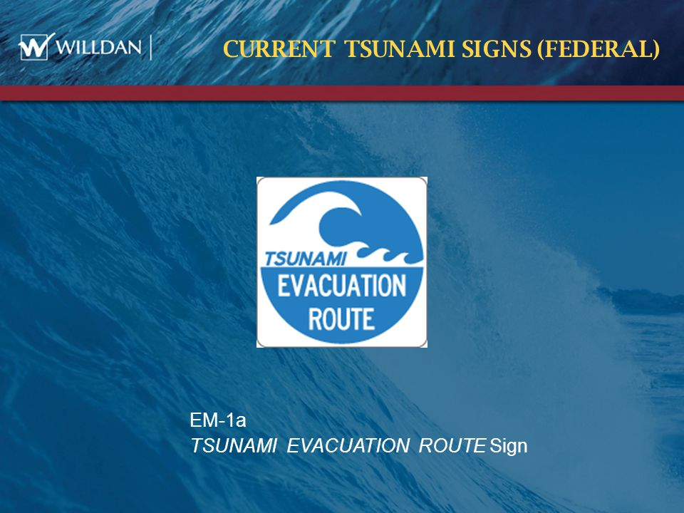 CURRENT TSUNAMI SIGNS (FEDERAL) EM-1a TSUNAMI EVACUATION ROUTE Sign