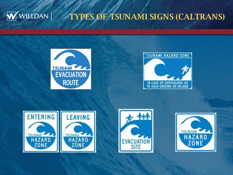 TYPES OF TSUNAMI SIGNS (CALTRANS)