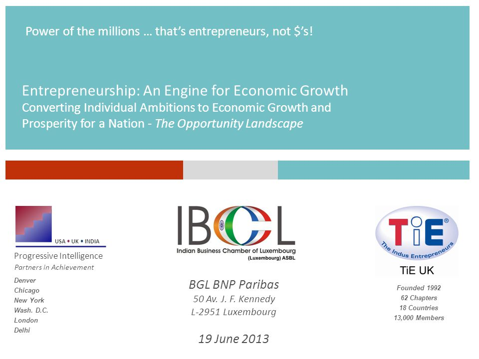 Entrepreneurship: An Engine for Economic Growth Converting Individual Ambitions to Economic Growth and Prosperity for a Nation - The Opportunity Landscape USA UK INDIA Progressive Intelligence Partners in Achievement Power of the millions … that's entrepreneurs, not $'s.