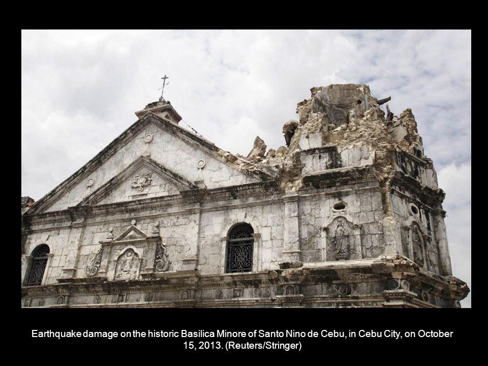 Earthquake damage on the historic Basilica Minore of Santo Nino de Cebu, in Cebu City, on October 15, 2013.