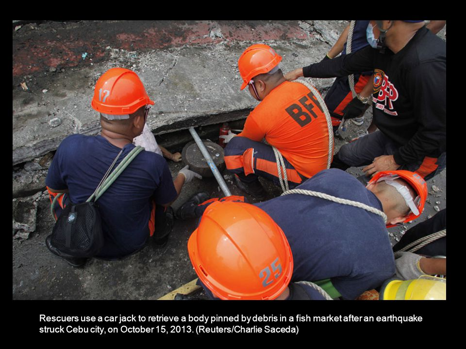 A collapsed building after an earthquake struck Cebu city, on October 15, 2013.