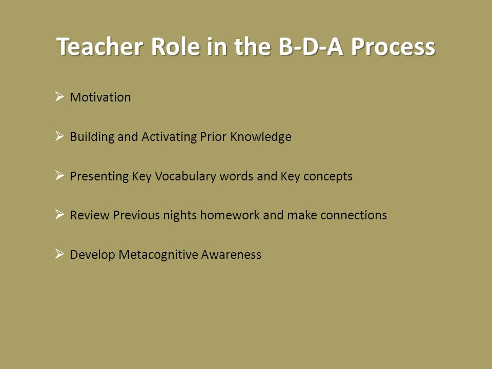 Teacher Role in the B-D-A Process  Motivation  Building and Activating Prior Knowledge  Presenting Key Vocabulary words and Key concepts  Review Previous nights homework and make connections  Develop Metacognitive Awareness