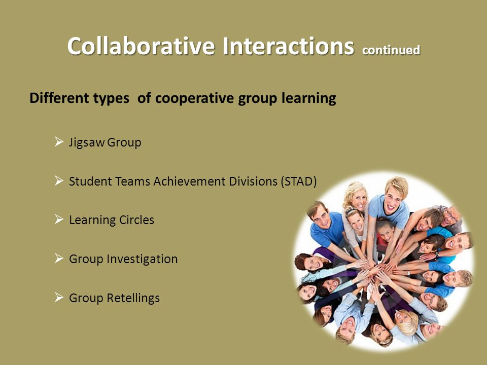 Collaborative Interactions continued Different types of cooperative group learning  Jigsaw Group  Student Teams Achievement Divisions (STAD)  Learning Circles  Group Investigation  Group Retellings
