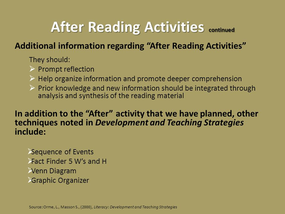 After Reading Activities continued Additional information regarding After Reading Activities They should:  Prompt reflection  Help organize information and promote deeper comprehension  Prior knowledge and new information should be integrated through analysis and synthesis of the reading material In addition to the After activity that we have planned, other techniques noted in Development and Teaching Strategies include:  Sequence of Events  Fact Finder 5 W's and H  Venn Diagram  Graphic Organizer Source: Orme, L., Masson S., (2000), Literacy: Development and Teaching Strategies