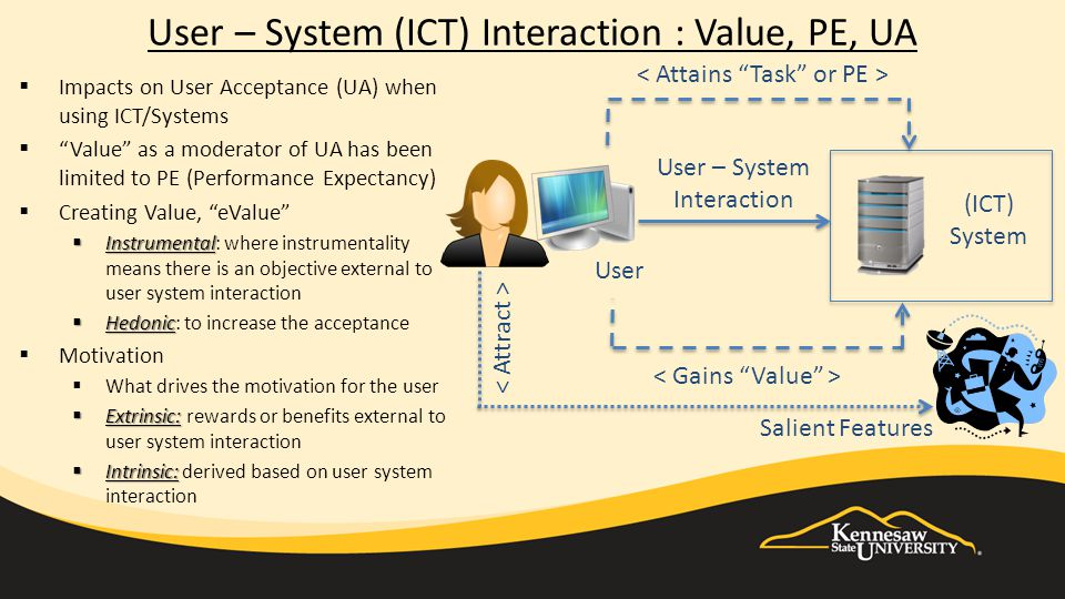 User – System (ICT) Interaction : Value, PE, UA (ICT) System User User – System Interaction  Impacts on User Acceptance (UA) when using ICT/Systems  Value as a moderator of UA has been limited to PE (Performance Expectancy)  Creating Value, eValue  Instrumental  Instrumental: where instrumentality means there is an objective external to user system interaction  Hedonic  Hedonic: to increase the acceptance  Motivation  What drives the motivation for the user  Extrinsic:  Extrinsic: rewards or benefits external to user system interaction  Intrinsic:  Intrinsic: derived based on user system interaction Salient Features