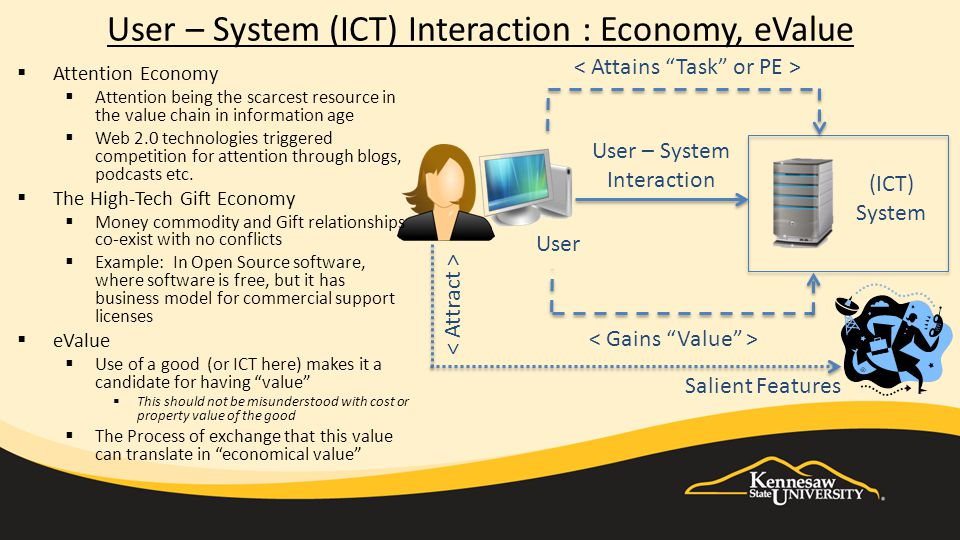 User – System (ICT) Interaction : Economy, eValue (ICT) System User User – System Interaction  Attention Economy  Attention being the scarcest resource in the value chain in information age  Web 2.0 technologies triggered competition for attention through blogs, podcasts etc.