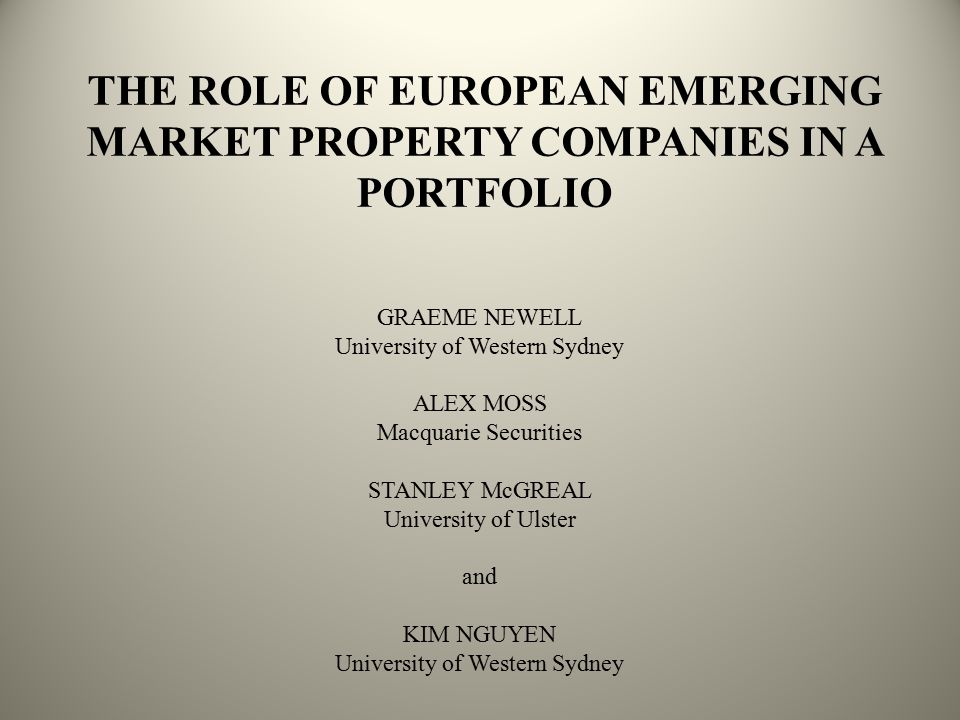 EMERGING MARKETS: EUROPEAN CONTEXT Listed property securities Developed @ 93% versus emerging @ 7% Europe emerging = 1.0% global #12: Russia#17: Poland#18: Turkey Europe emerging @ EPRA emerging markets index