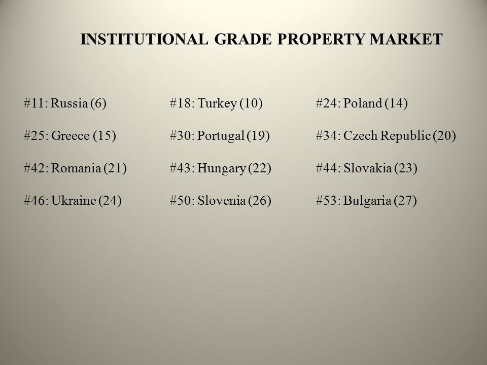 DIVERSIFICATION: PROPERTY SECURITIES BULG.CYPR.CZECHGREECEHUNG.POL.PORT.RUSS.TURK.EMERG.DEVEL.