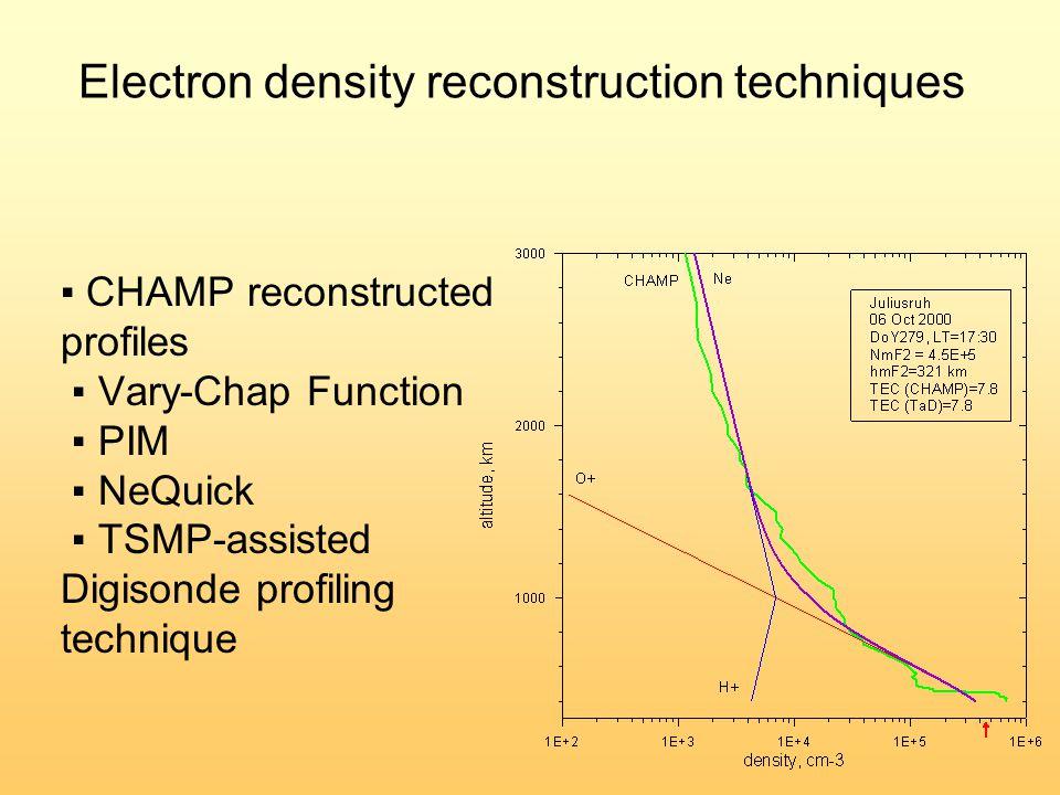 ▪ CHAMP reconstructed profiles ▪ Vary-Chap Function ▪ PIM ▪ NeQuick ▪ TSMP-assisted Digisonde profiling technique Electron density reconstruction tech