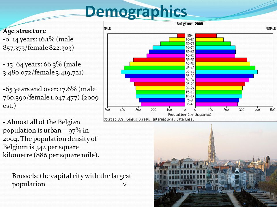 Demographics Age structure -0–14 years: 16.1% (male 857,373/female 822,303) - 15–64 years: 66.3% (male 3,480,072/female 3,419,721) -65 years and over: 17.6% (male 760,390/female 1,047,477) (2009 est.) - Almost all of the Belgian population is urban—97% in 2004.
