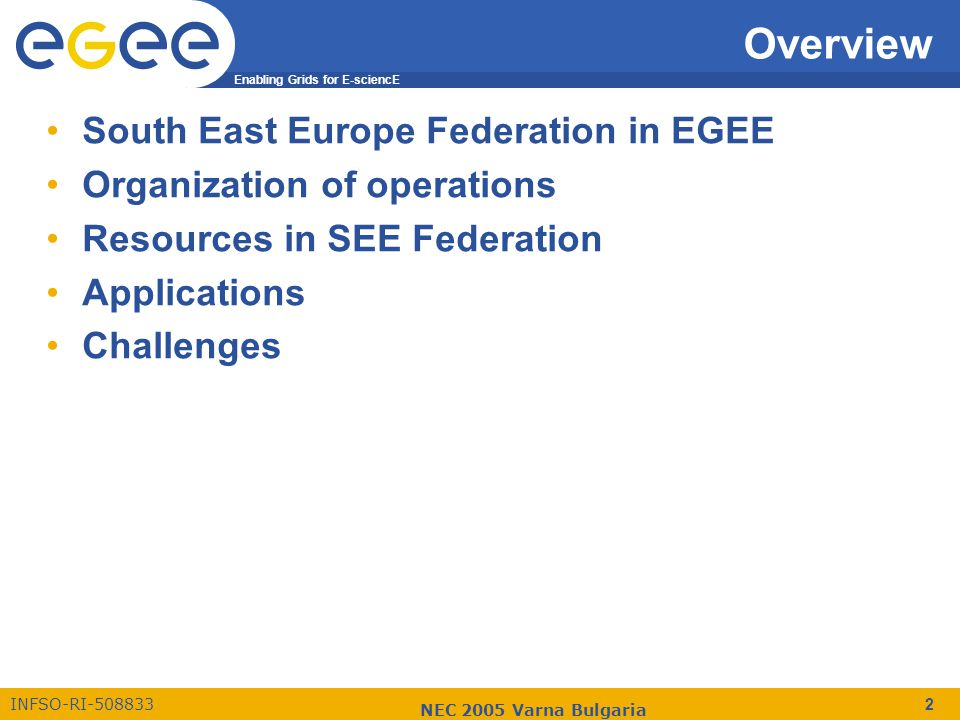 Enabling Grids for E-sciencE INFSO-RI-508833 NEC 2005 Varna Bulgaria 2 Overview South East Europe Federation in EGEE Organization of operations Resour