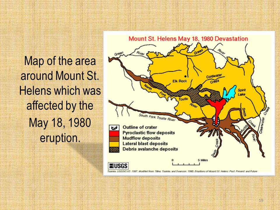Map of the area around Mount St. Helens which was affected by the May 18, 1980 eruption. 19