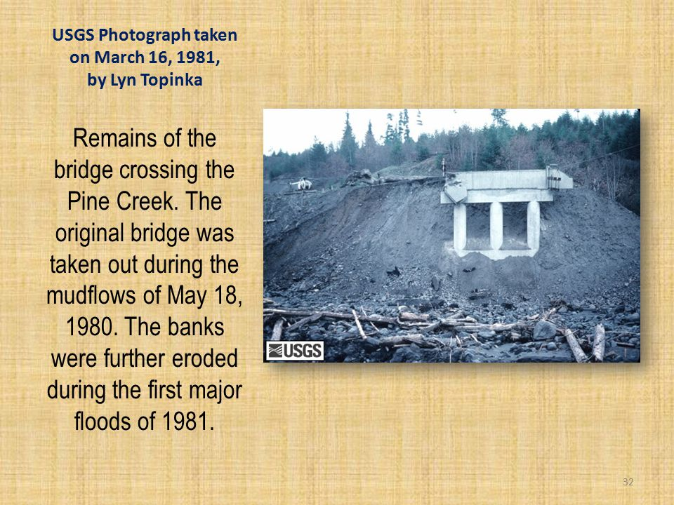 USGS Photograph taken on March 16, 1981, by Lyn Topinka Remains of the bridge crossing the Pine Creek.