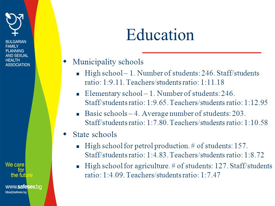 Education  Municipality schools High school – 1. Number of students: 246.