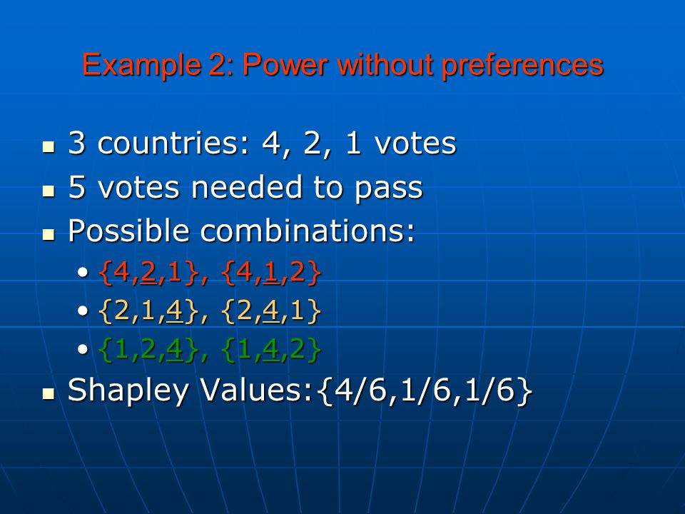 Example 2: Power without preferences 3 countries: 4, 2, 1 votes 3 countries: 4, 2, 1 votes 5 votes needed to pass 5 votes needed to pass Possible combinations: Possible combinations: {4,2,1}, {4,1,2}{4,2,1}, {4,1,2} {2,1,4}, {2,4,1}{2,1,4}, {2,4,1} {1,2,4}, {1,4,2}{1,2,4}, {1,4,2} Shapley Values:{4/6,1/6,1/6} Shapley Values:{4/6,1/6,1/6}
