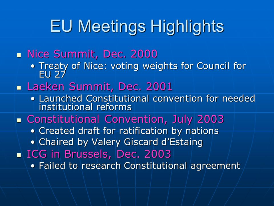 EU Meetings Highlights Nice Summit, Dec. 2000 Nice Summit, Dec.