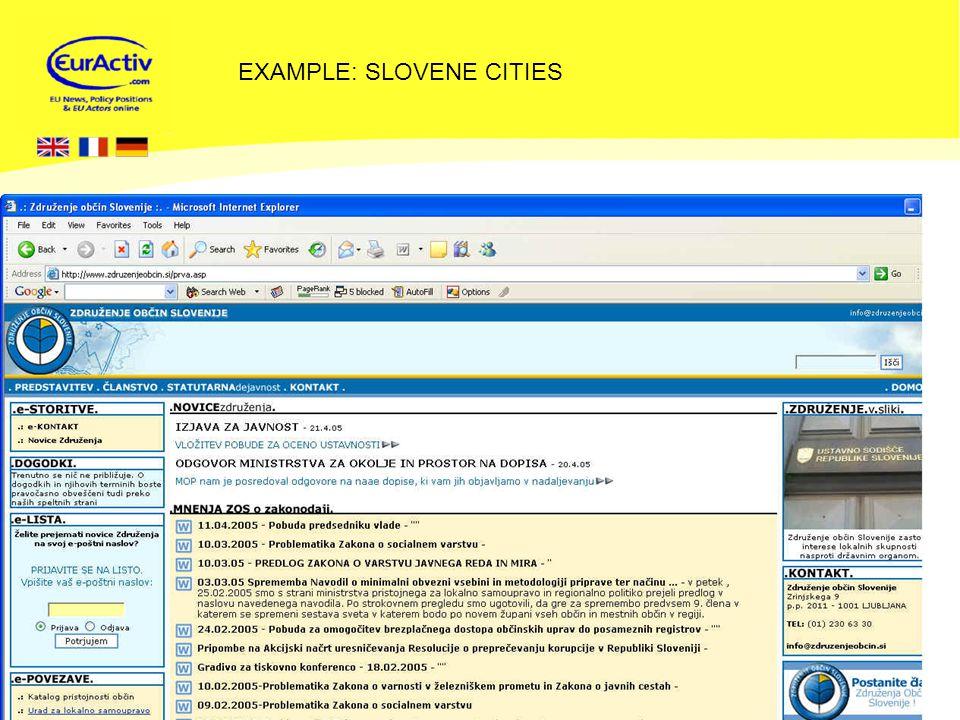 © EurActiv.com 2000-2005 18 EXAMPLE: SLOVENE CITIES