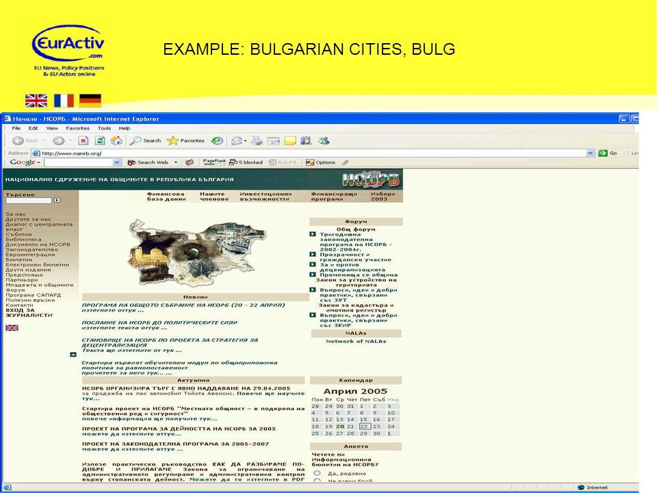 © EurActiv.com 2000-2005 19 EXAMPLE: BULGARIAN CITIES, BULG