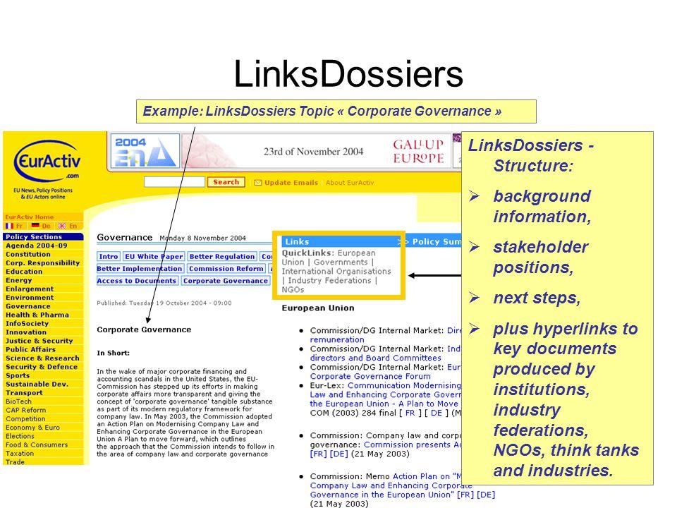 © EurActiv.com 2000-2005 6 Example: LinksDossiers Topic « Corporate Governance » LinksDossiers LinksDossiers - Structure:  background information, 