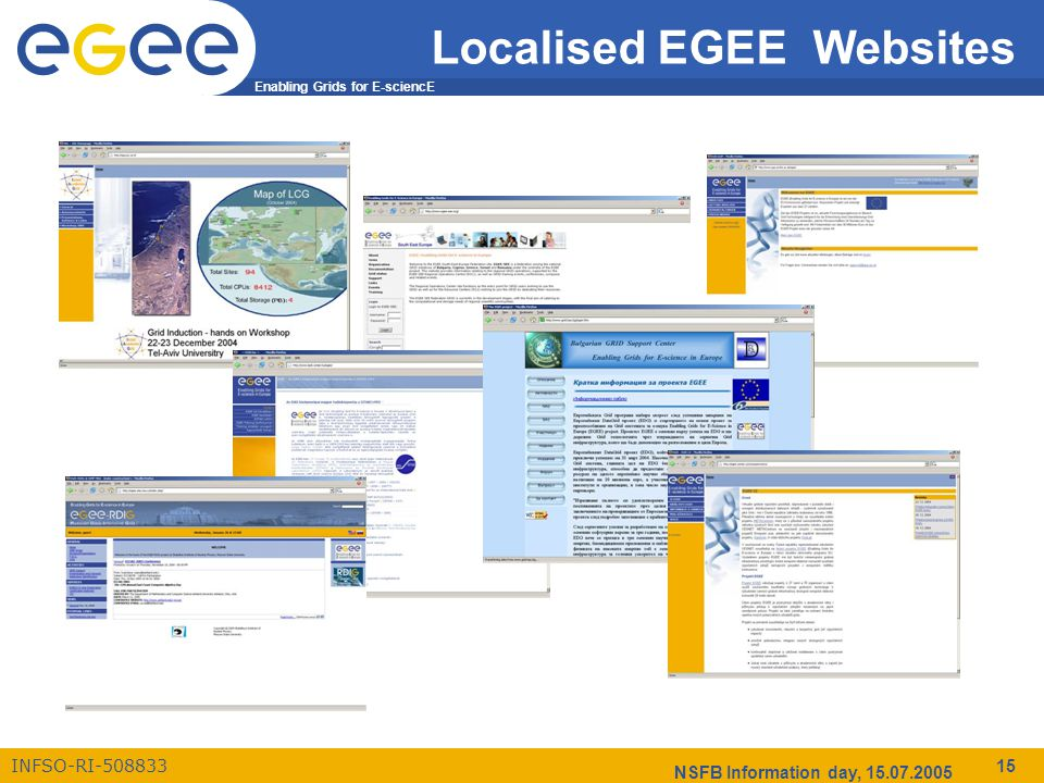 Enabling Grids for E-sciencE INFSO-RI-508833 NSFB Information day, 15.07.2005 15 Localised EGEE Websites