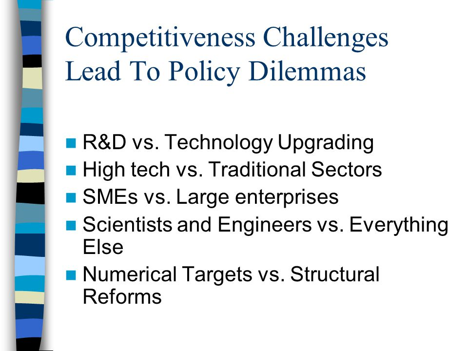 Competitiveness Challenges Lead To Policy Dilemmas R&D vs.