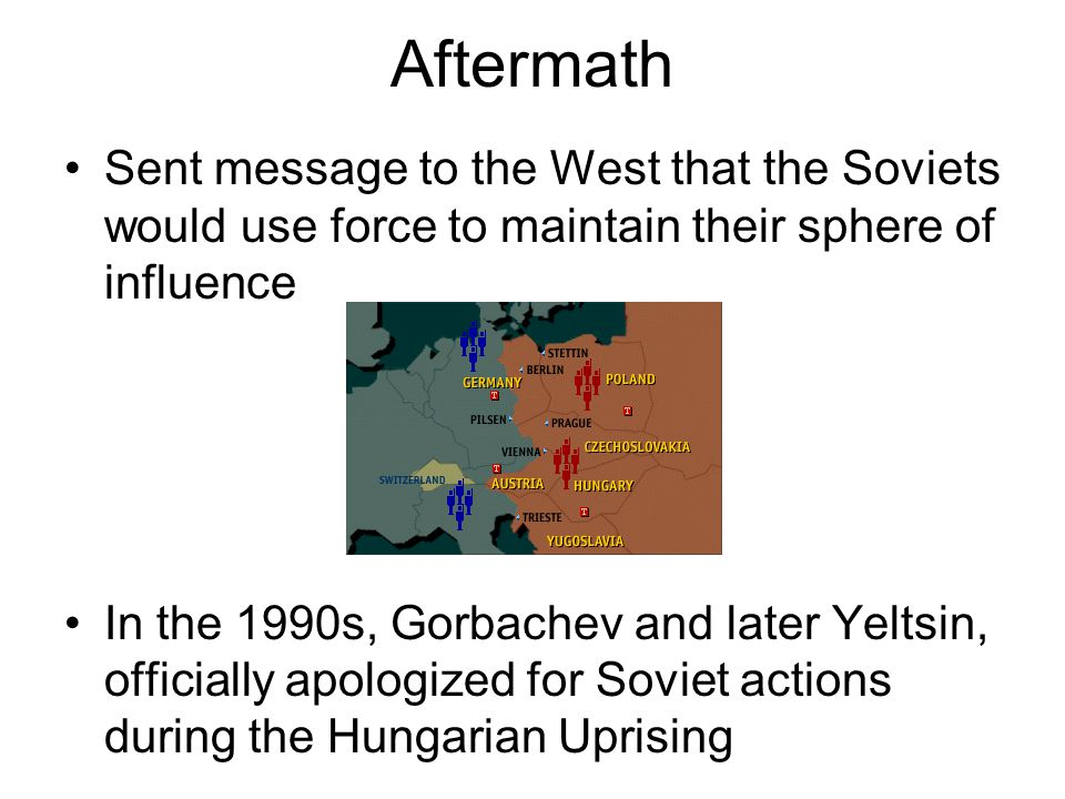 Aftermath Sent message to the West that the Soviets would use force to maintain their sphere of influence In the 1990s, Gorbachev and later Yeltsin, o