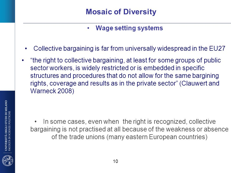 """10 Mosaic of Diversity Wage setting systems Collective bargaining is far from universally widespread in the EU27 """"the right to collective bargaining,"""