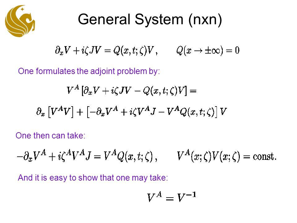 General System (nxn) One formulates the adjoint problem by: One then can take: And it is easy to show that one may take: