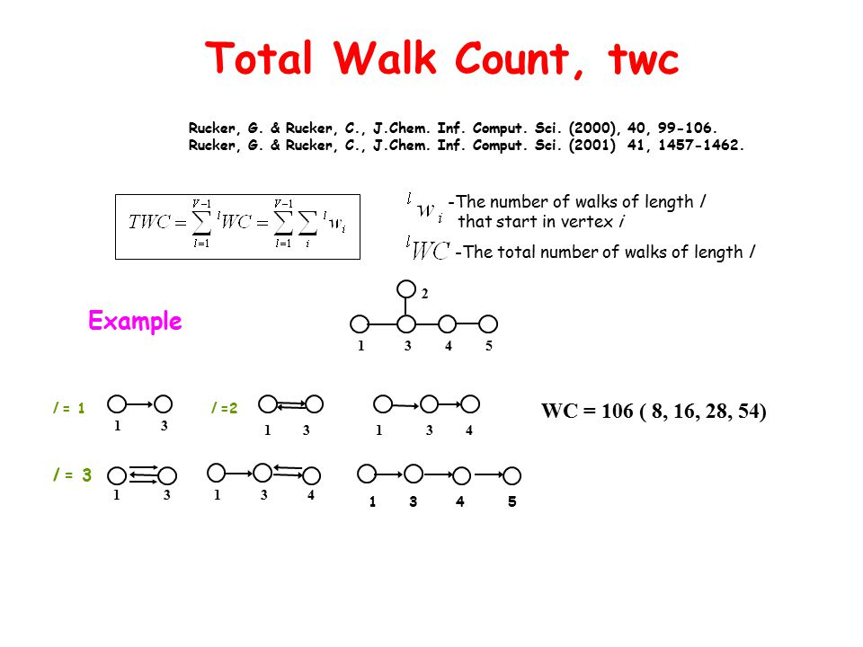 Total Walk Count, twc Example 5 4 1 3 2 WC = 106 ( 8, 16, 28, 54) 1 3 l = 1 l =2 1 3 1 3 4 l = 3 1 3 4 1 3 1 3 4 5 Rucker, G. & Rucker, C., J.Chem. In
