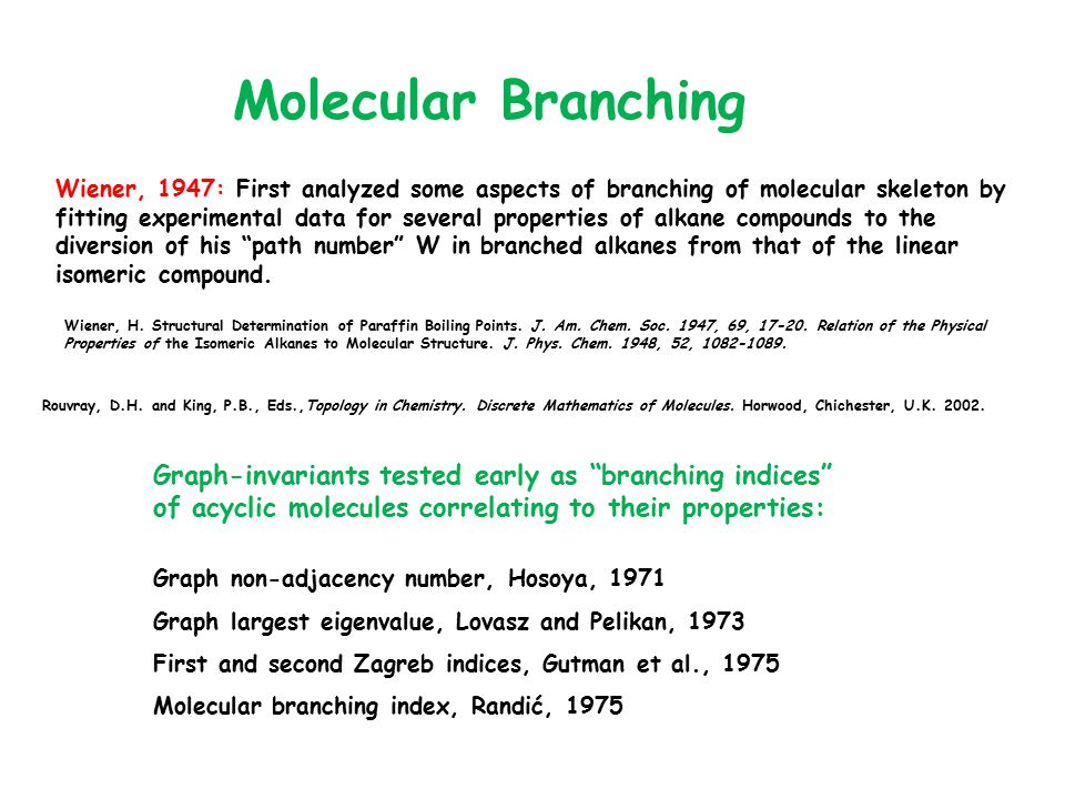 Molecular Branching Wiener, 1947: First analyzed some aspects of branching of molecular skeleton by fitting experimental data for several properties o