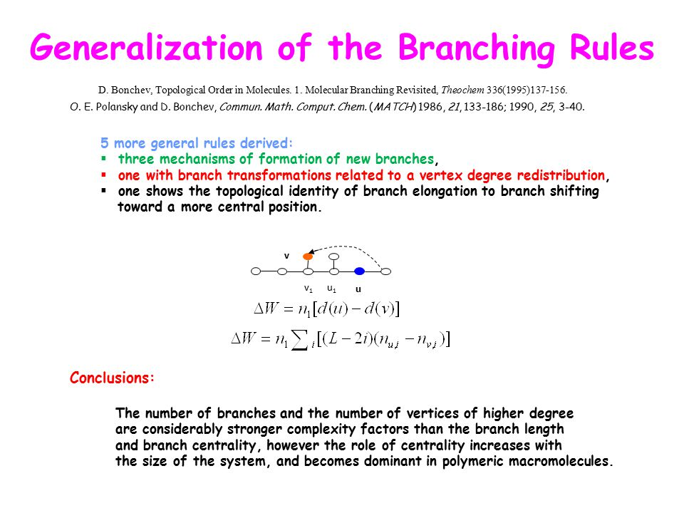 u v u1u1 v1v1 Generalization of the Branching Rules 5 more general rules derived:  three mechanisms of formation of new branches,  one with branch t