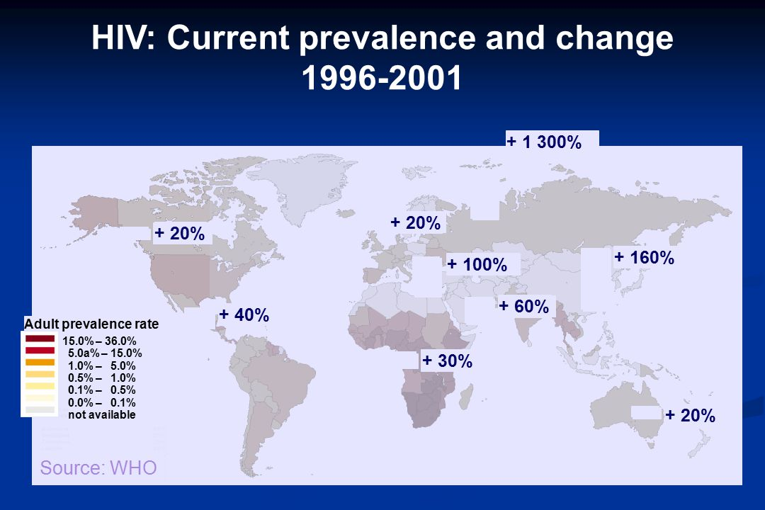 Adult prevalence rate 15.0%–36.0% 5.0a%–15.0% 1.0%–5.0% 0.5%–1.0% 0.1%–0.5% 0.0%–0.1% not available + 1 300% + 60% + 160% + 100% + 30% + 40% + 20% HIV