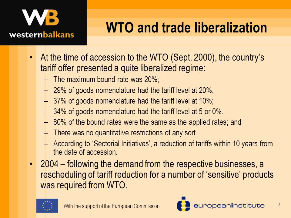 With the support of the European Commission 15 Conformity with MoU-some conclusion Trade coverage : None of the Albania's FTAs meet the import- weighted criterion, but some meet the tariff-line criterion.