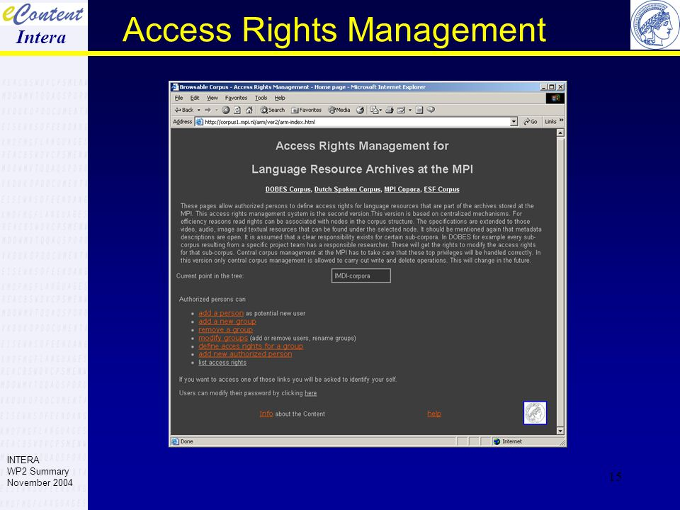 15 Access Rights Management Intera INTERA WP2 Summary November 2004