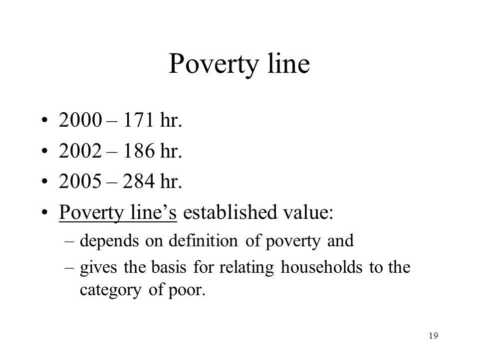 19 Poverty line 2000 – 171 hr. 2002 – 186 hr. 2005 – 284 hr. Poverty line's established value: –depends on definition of poverty and –gives the basis