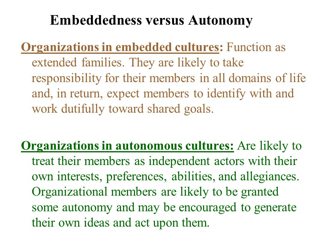 Embeddedness versus Autonomy Organizations in embedded cultures: Function as extended families.