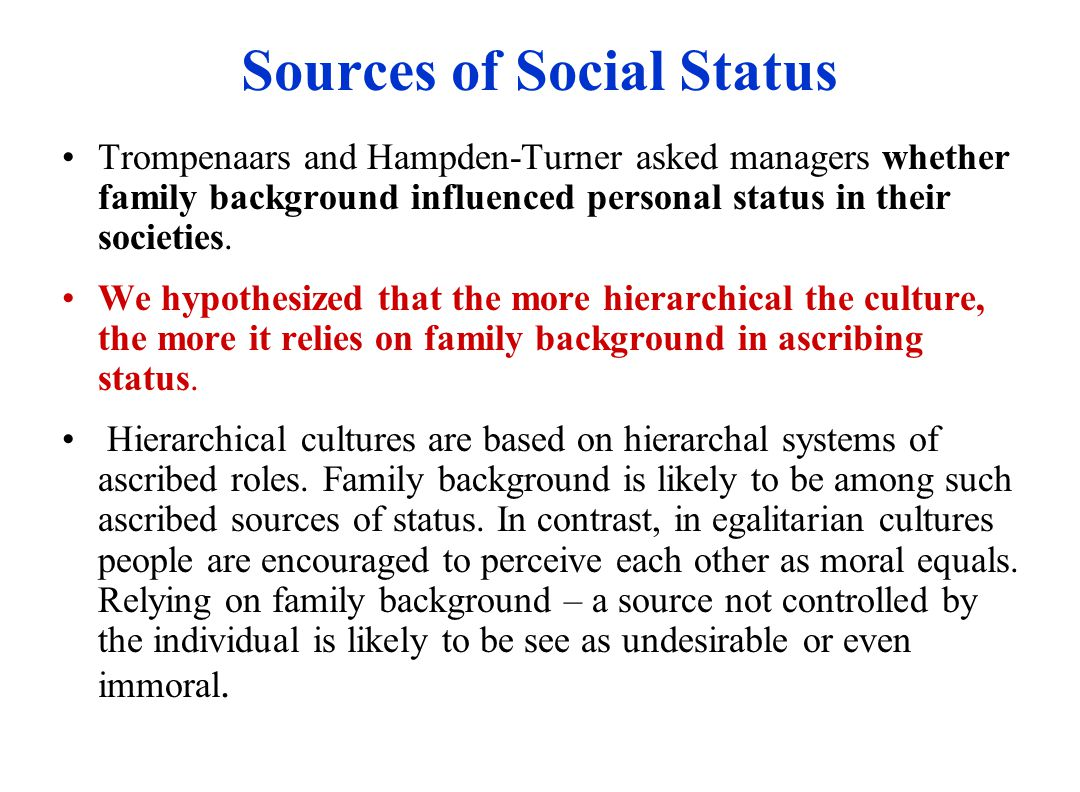 Sources of Social Status Trompenaars and Hampden-Turner asked managers whether family background influenced personal status in their societies.