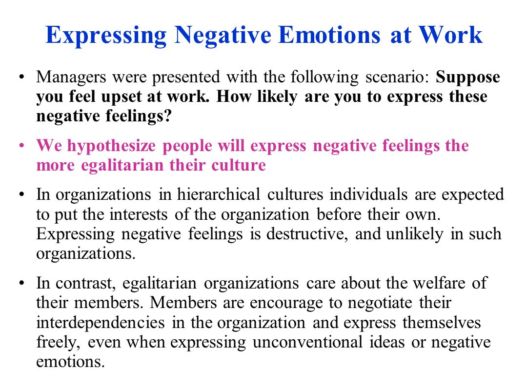 Expressing Negative Emotions at Work Managers were presented with the following scenario: Suppose you feel upset at work.