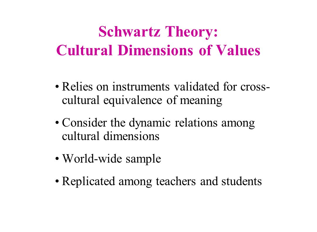 Schwartz Theory: Cultural Dimensions of Values Relies on instruments validated for cross- cultural equivalence of meaning Consider the dynamic relations among cultural dimensions World-wide sample Replicated among teachers and students