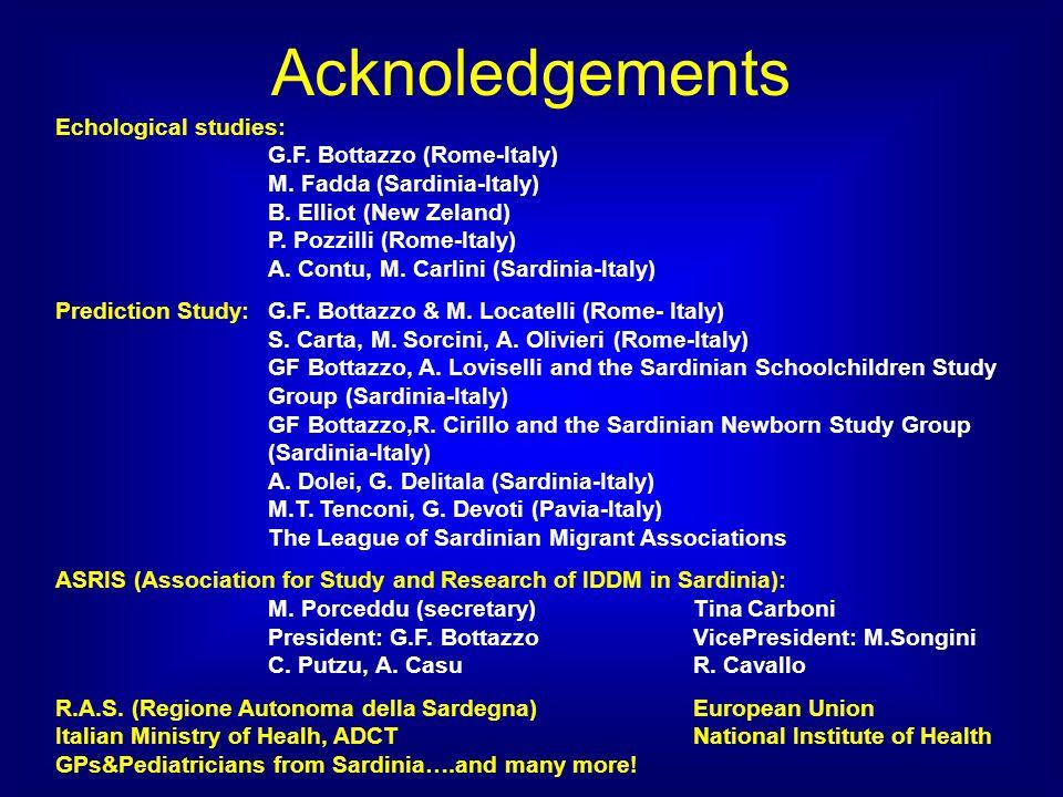 Acknoledgements Echological studies: G.F. Bottazzo (Rome-Italy) M. Fadda (Sardinia-Italy) B. Elliot (New Zeland) P. Pozzilli (Rome-Italy) A. Contu, M.